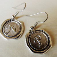 Wax Seal Earrings, A- Z Alphabet Initial, Monogrammed, Personalized Jewelry,Sterling Silver Earrings, Bridesmaid Gift 4everinstlye