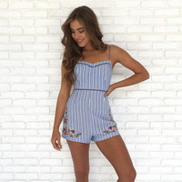 C'est La Vie Embroidered Stripe Romper