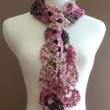 CIJ 20% Crochet Scarf Queen Annes Lace Scarf Ombre Scarf Varigated Multicolor Pink and Brown Scarf CIJ Sale Christmasinjuly