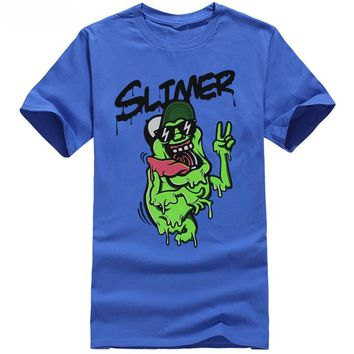 Ghostbuste Mens T-Shirt - Slimer Sunglasses Hat Flashing Peace Sign