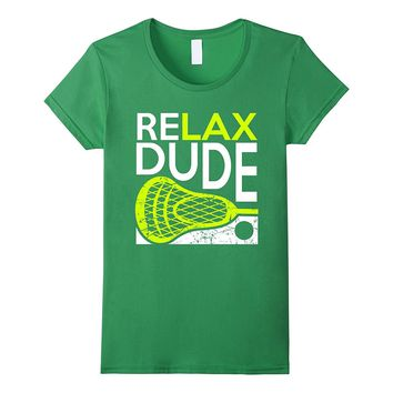ReLAX Dude Lacrosse LAX Stick T-Shirt v7 Lime