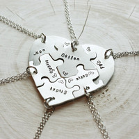 Hand engraved heart puzzle necklaces, shaped like a heart - perfect for 6 people, friendship, family, BFF, six, 6 pieces, jigsaw