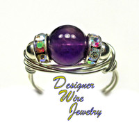 DWJ0337 Gorgeous Natural Purple Amethyst Silver Wire Wrap Ring All Sizes