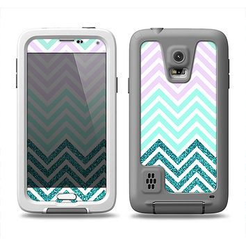The Light Teal & Purple Sharp Glitter Print Chevron Samsung Galaxy S5 LifeProof Fre Case Skin Set