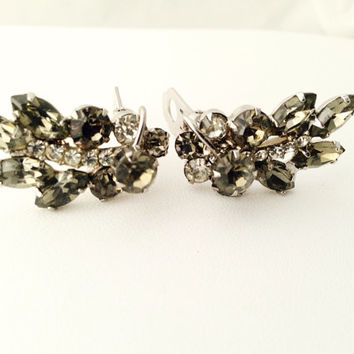 Smokey Grey Leaf Rhinestone Clip Earrings - clear and gray rhinestones - clip-on - wheat sheaf - crystal - clip ons - clips - silver