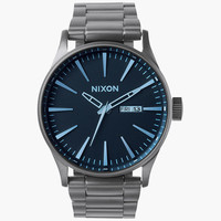 Nixon Sentry Ss Watch Gunmetal/Blue Crystal One Size For Men 25980024901