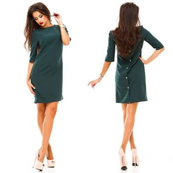 2017 Fall Winter Sassy Button Up  Half sleeved dress. Comes in  Warmest Red,  Emeraude Green and Drakkar Black