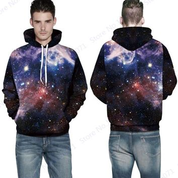 Blue Psychedelic Star Hooded Sweatshirt Space Galaxy Skateboard Hoodies Active Hip Hop Pocketed Pullover Full Sleeves Men Autumn