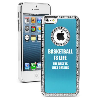 For Apple iPhone 4 4s 5 5s 5c Rhinestone Crystal Bling Hard Case Cover Black Blue Red Green Silver Pink Purple Basketball Is Life