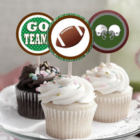 """Football Theme - Download 2.25"""" Cupcake Toppers, Printable Birthday Party Gift Tags, Toppers, Boy Girl Stickers, Gift Tags - Sports"""