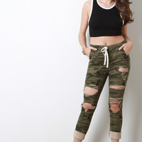 Distress Camouflage Jogger Pants