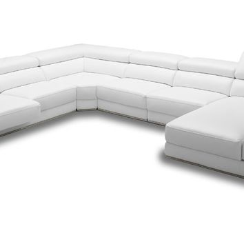 Divani Casa Chrysanthemum - Modern White Leather Sectional Sofa