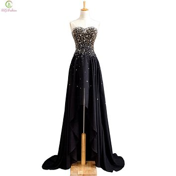 SSYFashion New Banquet Evening Gown Sexy Slim Black Strapless Sleeveless Beading Short Front Back Long Prom Dress Catwalk Dress