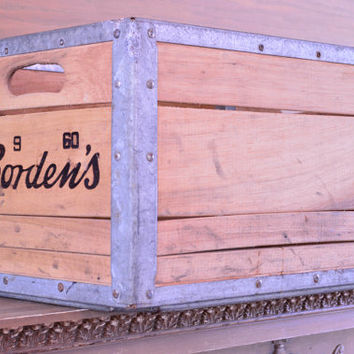 Vintage Wood Crate, Borden's Crate, Wooden Crate, Milk Crate, Wood Box, 1960s