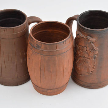 Handmade designer ceramic cups 3 clay mugs for beer stylish set of ware