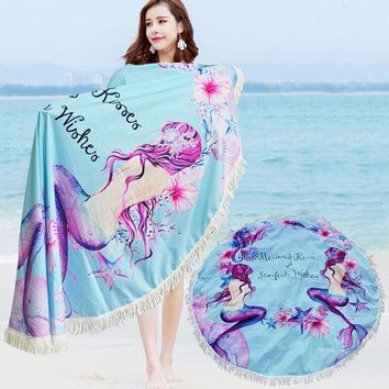 Latest Women Fashion Tassels Beach Blanket Summer Sun Screen Shawl Mermaid Printing Beach Rug