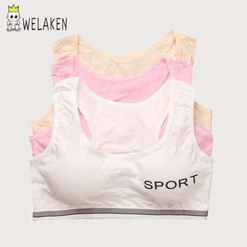Solid Girls Camisoles Letter Pattern Little Girl Sports Cotton Kids Underwear Vest Soft No Ring Children Training Bras