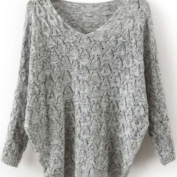 Fall Fashion Grey V Neck Long Sleeve Hollow Sweater