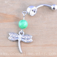 bling Dragonfly Belly Button Rings,Navel Jewelry,dragon fly belly button ring, green bead,bead belly button ring