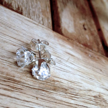 Herkimer diamond earrings set in sterling silver