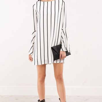 LOW KEY LOW BACK STRIPED DAY DRESS