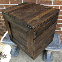 Large Rustic Wooden Crate with Hinged Lid - Handmade Reclaimed Wood Side Table with Storage - Salvaged Wood Storage Box, Blanket Box