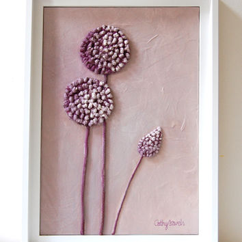 Allium Painting - Mixed Media Original - Lavender Lilac Textured Work in String and Pigments