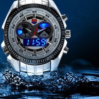 TVG Unisex Blue LED Digital-analog Display Stainless Steel 100M Waterproof Sport Wrist Watches (White) = 1956851908