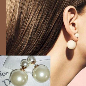Double Pearls Wrapping Ear Cuffs
