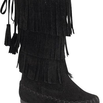 Black Toddlers Fringe Boots