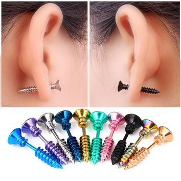 1 Pair Titanium Steel Nail Screw Stud Earrings For Women Men Jewelry Earing