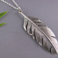 Solid Sterling Silver Feather necklace on Italy 925 chain Sterling Silver Feather Necklace