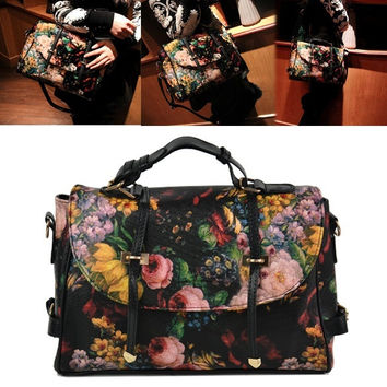 Fashion Double Use Bags Handbag Purse Flower Painting Pattern Shoulder Bag  D_L = 5617725185