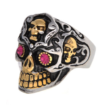 Dear Deer Stainless Steel Vintage Classic Golden Teeth Pink Eyes Evil Skull Ring