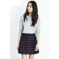 Blue Plaid Pleated Zipper Mini Skirt