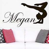 Wall Decal Girl Name Gymnast Sticker Personalized Name Nursery Baby Kids Custom Name Vinyl Sticker Decals Home Decor Art Bedroom Design Interior C495