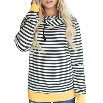 Autumn T-shirt Plus Size Womens Long Sleeve Hoodie Sweatshirt Striped Hooded Pullover Tops Tee Shirt