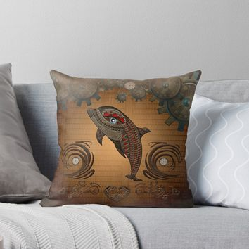 'Steampunk, awesome steampunk dolphin' Throw Pillow by nicky2342