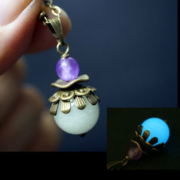 Glow In The Dark Necklace - Glowing Stone Necklace - Bronze Ball Chain Purple Chalcedony Necklace