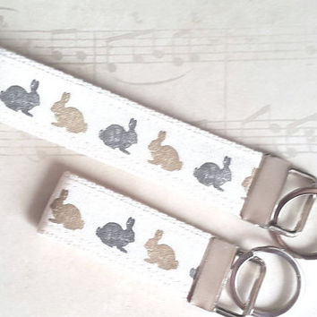 Bunny Key Ring, Rabbit Key Chain, Teacher Gifts, Rabbit Lover, Animal Key Fob, Bag Tag, Office Gift, Christmas in July, Wrist Lanyard,