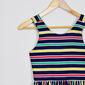 navy primary rainbow circus striped cotton childs sundress dress nautical vintage 1980s petite