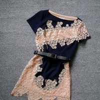 Handmade Embroidered Flower Irregular Dress