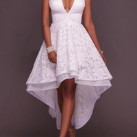 White Patchwork Lace Zipper Swallowtail High-low Wedding Gowns Tutu Maxi Dress