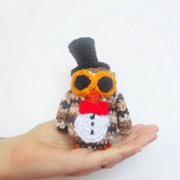 Fancy Little Crochet Owl Plushy with Bow Tie and Top Hat in Browns, ready to ship.