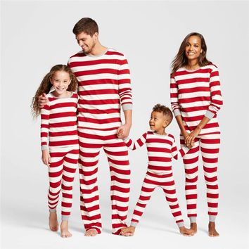 pudcoco 2018 Xmas Plus Size Red striped Family Matching sleep clothes set father Mother Daughter kids baby Outfits Pajamas set