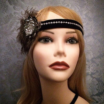20's style flapper headband Crystal Flower Brooch Art Deco Black Gray Beaded 1920s gatsby roaring 20's head piece band Jazz Era Velvet