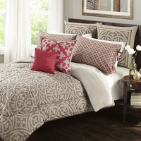 Wild Olive Medallion 7-pc. Reversible Comforter Set - Queen (Beige/Khaki)