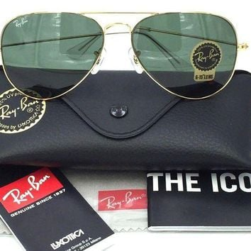 LOMFN Cheap Ray-Ban RB3025 L0205 Aviator Gold Frame with G-15 Green Lens 58mm (22) outlet