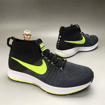"""NIKE"" Fashion Casual Multicolor Knit Fly Line Men High Help Sneakers Running Shoes"