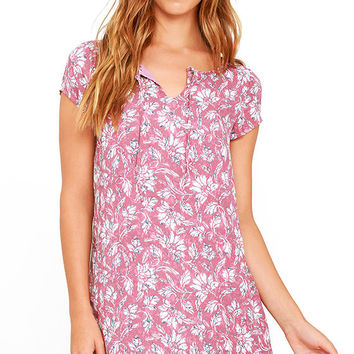 Jack by BB Dakota Zacharias Mauve Floral Print Shift Dress